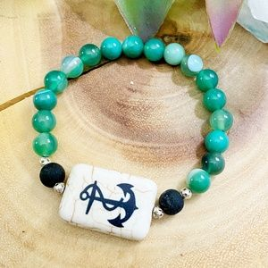 Green agate and howlite anchor bracelet